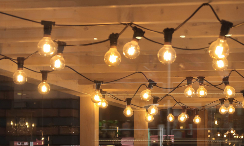 Festoon Lights in a Pub Garden